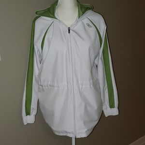 RBX JACKET ZIP FRONT HOODED WHITE W/GREEN ACCENTS
